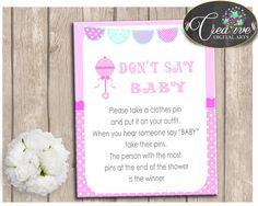 Baby Shower Nursery Baby Shower Pattern Activities Outfit Game DONT SAY BABY, Pdf Jpg, Shower Celebration, Party Planning - bsr01 #babyshowerparty #babyshowerinvites