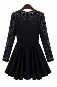 Sexy lace stitching round neck dress