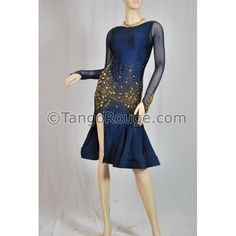 Navy Blue Elegant Latin Rhythm Dance Dress with High Slit - S
