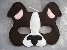 Dog Mask - Puppy Mask - Animal Mask - Felt Mask - Pretend Play - Dress Up - Boston Terrier Puppy Costume For Kids, Projects For Kids, Crafts For Kids, Dog Mask, Black Puppy, White Puppies, Felt Dogs, Boston Terrier Dog, Animal Masks