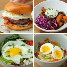 The Ultimate Egg-Topped Brunch These brunch recipes are sure to impress all your friends! Four deliciously eggy meals are the perfect way to start your morning this weekend. Choose from a brunch burger, grain bowl, ramen, or sweet potato hash. Egg Recipes, Brunch Recipes, Breakfast Recipes, Cooking Recipes, Healthy Recipes, Cheap Clean Eating, Clean Eating Snacks, Tasty Videos, Food Videos