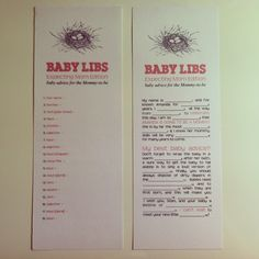 baby libs for baby shower Baby Shower Activities, Baby Fever, I Am Awesome, Mad Libs, Words, Showers, Shower Ideas, Parties, Gifts