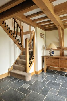 Beautiful oak frame hallway with exposed oak beams and joists adding a wonderful character to the entrance of your home www. Cottage Staircase, Cottage Hallway, Modern Staircase, Staircase Design, Oak Framed Buildings, Oak Frame House, Country Interior, Cottage Interiors, House Rooms