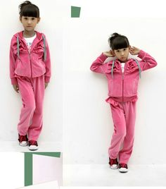 Aliexpress.com : Buy Free Shipping Hot Fashion Velvet Clothing Set for Girls Winter Wear Pockets Design Jacket+Solid Color Pant K0193 from Reliable Girls Velvet Clothing Suit suppliers on SICIBAY - Kids' Clothing:Selling for Donating
