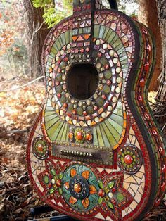 Mosaic guitar in the garden
