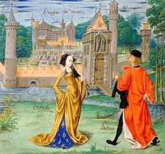 Paris BnF Miniature by the Master of Antoine Rolin.in Evrart de Conty, Le Livre des échecs amoureux, ca. noble Castle with a well-kept garden within a wall Medieval Life, Medieval Fashion, Medieval Clothing, Medieval Art, 15th Century Fashion, 15th Century Clothing, 16th Century, Medieval Costume, Medieval Dress
