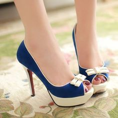 ENMAYER   Red Blue Sexy Round Toe High Heels Women Pumps Shoes Bow Party PUMPS 2014 Brand New Design Less Platform Pumps 2colors $67.16