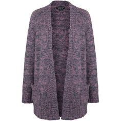 TOPSHOP Space Dye Twisted Yarn Cardigan ($105) ❤ liked on Polyvore featuring tops, cardigans, pink, purple top, twist top, longline cardigan, topshop cardigan and purple cardigan