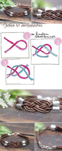 Armbänder mit Seemannsknoten – die kann man aus Lederbändern, Schnürsenkeln, Zpagetti oder was auch immer machen! Hier gibt's die Anleitung!