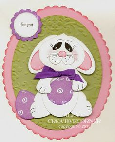 handmade card: Alex's Creative Corner: Shy Bunny Easter Card ... adorable punch art bunny  on a layered oval ... luv it! ...Stampin'Up!