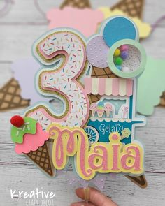 Diy Cake Topper, Birthday Cake Toppers, Cupcake Toppers, Unicorn Cake Topper, Ice Cream Theme, Ice Cream Party, Anniversaire Candy Land, Cricut Cake, Ice Cream Social