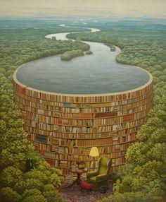 trompe l'oeil / bookshelf / lake / unattributed