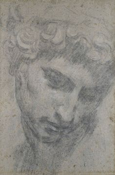 Jacopo Robusti, called Tintoretto Head of Giuliano de'Medici, after Michelangelo. Charcoal and white chalk on faded blue paper, x cm © Christ Church Picture Gallery. Human Figure Drawing, Guy Drawing, Life Drawing, Painting & Drawing, Unique Drawings, Cool Drawings, Michelangelo, Salvador Dali Paintings, Academic Art