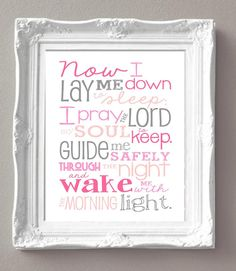 Pink and Gray Nursery - Now I Lay Me Down to Sleep Prayer  11x14 print  by sweetleighmama, $19.99