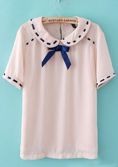 Pink Short Sleeve Bow Ribbon Embellished Blouse
