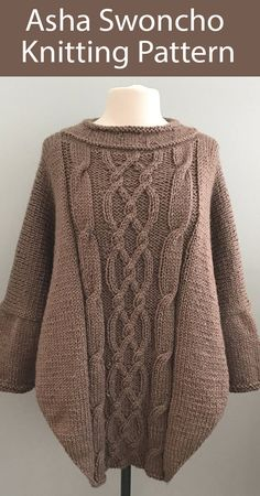 Swoncho Knitting Patterns- In the Loop Knitting Poncho Knitting Patterns, Free Knitting, Sweater Patterns, Crochet Patterns, Poncho Sweater With Sleeves, Poncho Tops, Knit Shrug, Knitted Poncho, Loom Scarf