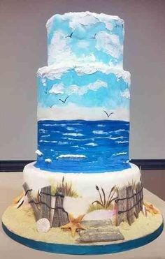 Fine Arts Bakery recent cake I did for a demo on cake painting techniques for… Pretty Cakes, Cute Cakes, Beautiful Cakes, Beautiful Beach, Amazing Cakes, Beach Themed Cakes, Beach Cakes, Cake Original, Arts Bakery