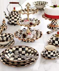 "MacKenzie-Childs ""Courtly Check"" Dinnerware Alice in Wonderland Tea Set Wonderland Party, Alice In Wonderland, Vase Deco, Mackenzie Childs Inspired, Tiered Server, Mad Hatter Tea, Mad Hatters, Decoration Table, Home Interior Design"