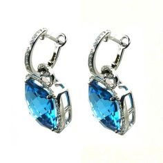 Custom Made Blue Topaz Earrings by Windy City Diamonds, LLC.