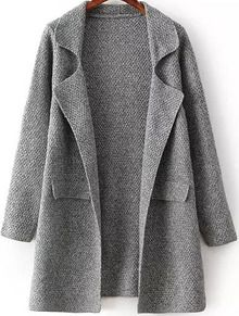 Grey Lapel Long Sleeve Chunky Cardigan