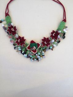 Green Crochet Necklace with multi color natural stones and Turkish Oya Lace/ Statement crochet necklace / Green macrame necklace