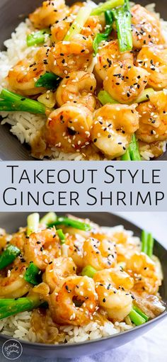If you love tasty, quick and easy dinners then this Takeout Style Ginger Shrimp Stir Fry recipe takes less than 10 minutes to make and tastes amazing! A simple sauce made with easy to find grocery sto Shrimp Stir Fry Healthy, Prawn Stir Fry, Healthy Rice Recipes, Shrimp And Rice Recipes, Brown Rice Recipes, Shrimp Recipes For Dinner, Veggie Stir Fry, Shrimp Dishes, Seafood Recipes