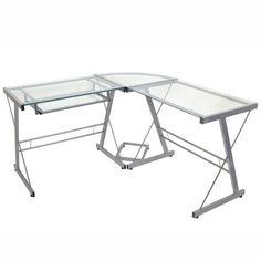 Modern Corner Computer Desk in Metal and Glass