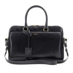 Saint Laurent Duffle 6 Leather and Suede Bowling Bag (1,950 CAD) ❤ liked on Polyvore featuring bags, handbags, purses, black, genuine leather handbags, suede handbags, black leather duffle, black suede handbag e black suede purse