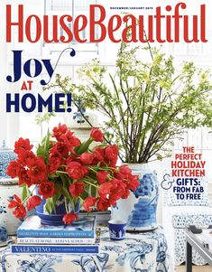 House Beautiful Magazine December/January 2018 - Joy At Home, The Essentials Moss Garden, Enchanted Home, Craftsman Kitchen, Interior Design Magazine, Online Furniture Stores, Kitchen Gifts, Beautiful Homes, House Beautiful, White Decor