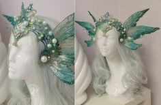 """Siren Headress by Firefly-Path """"Pearls collect around her crown like air bubbles catching on treasure. Elf Kostüm, Mermaid Crown, Mermaid Headpiece, Fantasy Dress, Costume Makeup, Siren Costume, Fantasy Jewelry, Character Outfits, Headgear"""