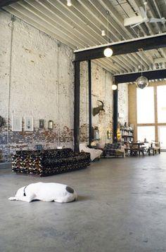 Bohemian-Industrial converted garage, home of Doub Hanshaw and John David Mahaffey #interiors