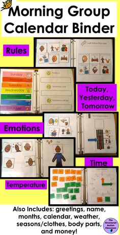 Autism and Special Education: Morning Work, Morning Group, Calendar Time, or Circle time. Daily interactive calendar binder that includes days of the week, months, rules, greeting, weather, temperature, seasons, body parts, emotions, time, and money. Increases engagement and participation during Calendar time!
