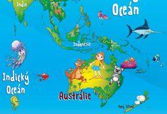 DĚTSKÉ SAMOLEPKY NA ZEĎ | Mořský svět a piráti | Samolepící MAPA SVĚTA 130 x 80 cm | Shopni si - Samolepky nejen na zeď Children, Kids, Indie, Ocean, World, Movies, Movie Posters, Continents, School