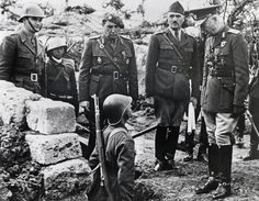 Marshal Antonescu, the Romanian dicator allied with Hitler, visits the Eastern Front. The Romanians were decimated at Stalingrad. Antonescu was tried and shot in World War Two, Bradley Mountain, Troops, Ww2, Brave, Military Jacket, Che Guevara, Two By Two, Army