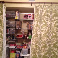 Replacing closet doors with curtains.