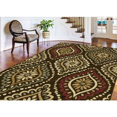 Alise Lagoon Brown Transitional Area Rug ($185) ❤ liked on Polyvore featuring home, rugs, transitional area rugs, non skid rugs, brown area rugs, transitional rugs and geometric rug