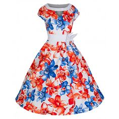 'Kelly' Radiantly Vibrant Oriental White Lily 50's Inspired Swing Dress
