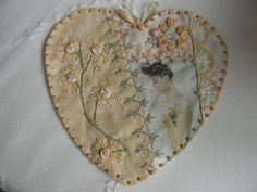 Beautifully pieced and embroidered heart