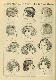 "Bobbed hairstyles, from ""The Battle for Bobbed Hair"", Photoplay Magazine, 1924."