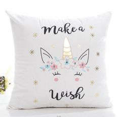 Personalised Unicorn Cushion Cover With Any Name Printed on Pillow Case Gift #2