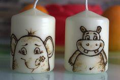 2 schöne Kerzen Henna Motiv Elefant + Nielpferd