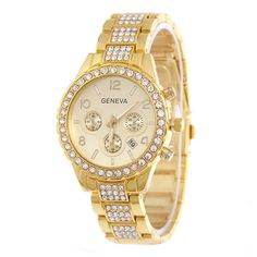 >> Click to Buy << Elegant Geneva Rhinestone Stainless Steel Calendar Quartz Watches  #Affiliate