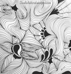 As a variation on my Psycho doodle, I started this drawing with a few flowers joined by curves.