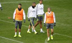Entrenamiento   Cristiano, Benzema, Varane & Bale.