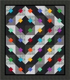 Bright Black & White Free Quilt Pattern from Quiltshop Online Quilting Tutorials, Quilting Projects, Quilting Designs, Quilting Ideas, Bright Quilts, Colorful Quilts, Easy Quilts, Scrappy Quilts, Black And White Quilts
