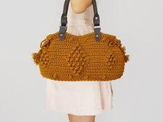 BAG // Mustard Shoulder Bag Celebrity Style With Genuine Leather Dark Gray Handles on Etsy, $99.00