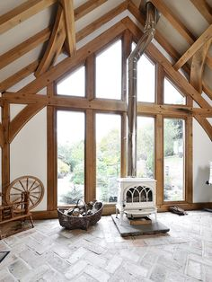 A wood burning stove means you can use your oak-framed garden room all year around - even when it's chilly!