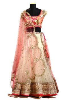 Floral Choli with while lehenga, detailed border and baby pink dupatta