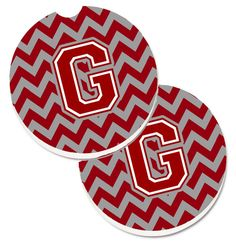 Letter G Chevron Maroon and White Set of 2 Cup Holder Car Coasters CJ1049-GCARC