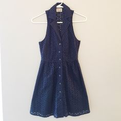 Blue Eyelet Dress This super cute button down eyelet dress is perfect for the spring and summer seasons // buttons all intact // measures 31 inches from shoulder to hem // no holes, stains or imperfections // comes from a smoke free environment // in LIKE NEW condition Bundles welcome Reasonable offers welcome ❌NO trades, please. ⚡️Same/Next day shipping Black Poppy Dresses